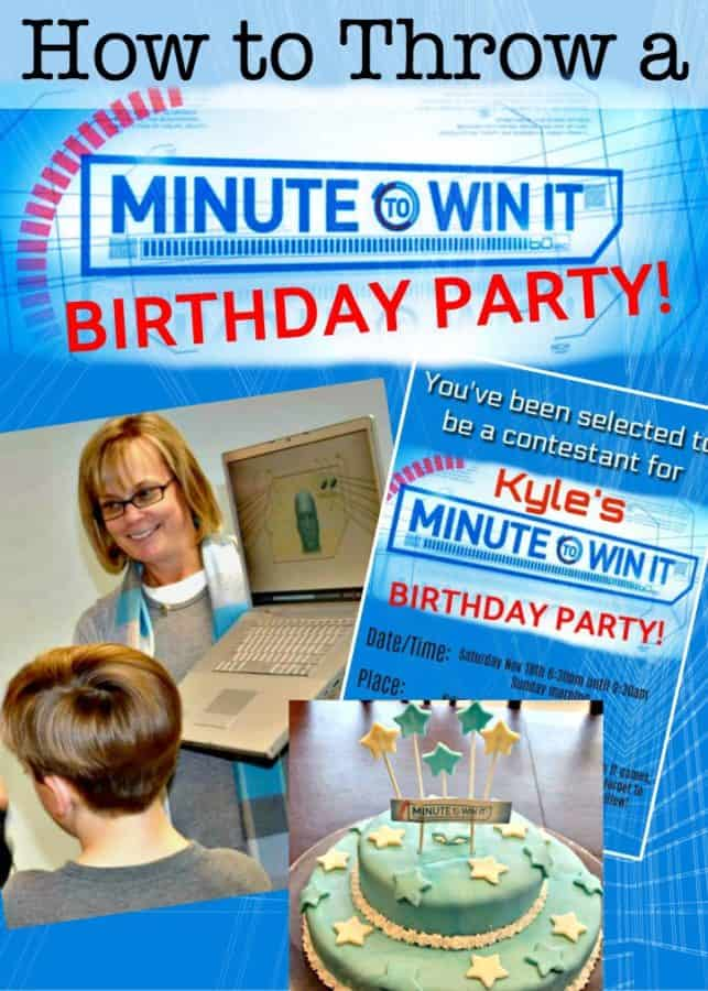 "Fantastic ideas for hosting a Minute to Win It birthday party at home! This post includes ideas for Minute to Win It games for kids with links to the ""blueprints"", ideas for team prizes, cake, party favor, and lots of tips on how to make your Minute to Win it Party awesome!"