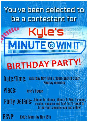 Great 10 year old boys birthday idea minute to win it birthday fantastic ideas for hosting a minute to win it birthday party at home this post i created these cool party invites filmwisefo