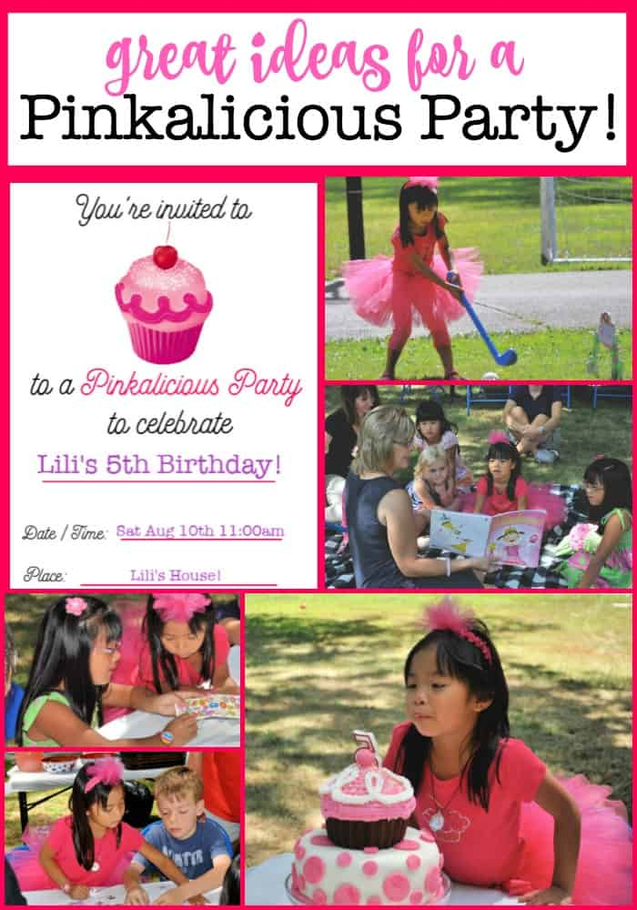My daughter loves the book Pinkalicious, the story of a little girl who can't stop eating her Mom's pink cupcakes- and she eats so many that she turns pink! So we planned a Pinkalicious birthday party!