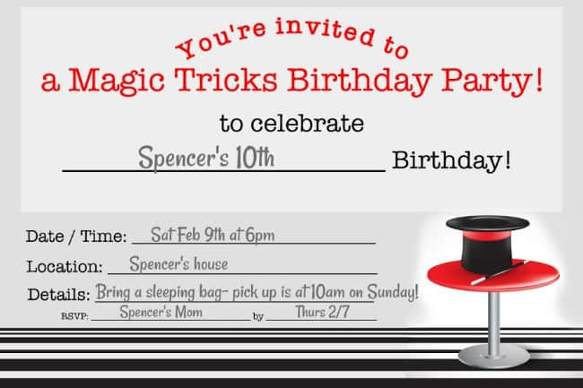 What tween wouldn't love a magic party? We planned this fun birthday party idea for when my son turned 10- taught the group some fun magic tricks for kids, watched a magic-themed movie, and sent them home with a cool party favor! This post includes a free printable magic party invite and thank you note!