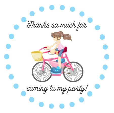 bike party favor tag