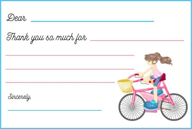 bicycle birthday party thank you note