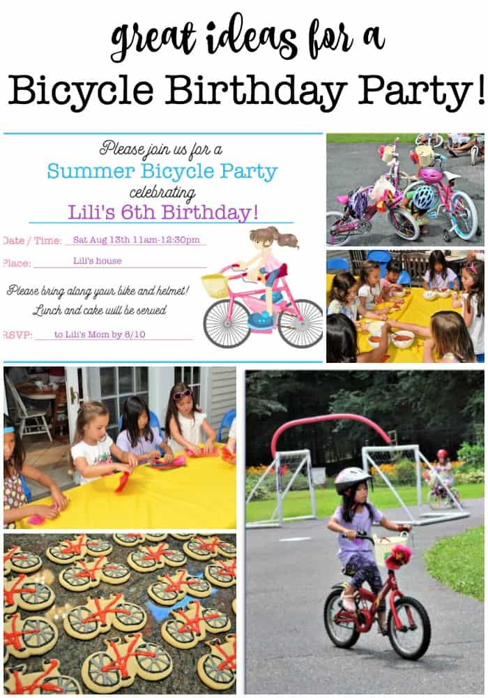 My daughter was so thrilled to learn how to ride her bike without training wheels, that she wanted to have a bicycle birthday party when she turned 6! All of the guests brought along their bikes, which we decorated as a party activity and then rode through an obstacle course!