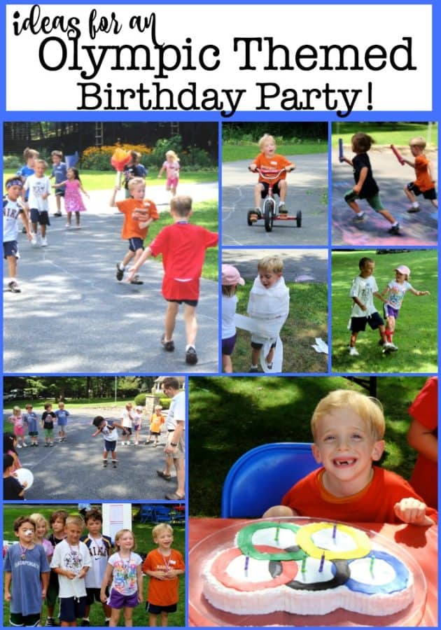 An Olympic themed party is a great idea to celebrate a 6-year-old's birthday! This post will give you everything you need- free printable invitations and thank you notes, ideas for Olympic party games, Olympic party favors, the cake- and more!