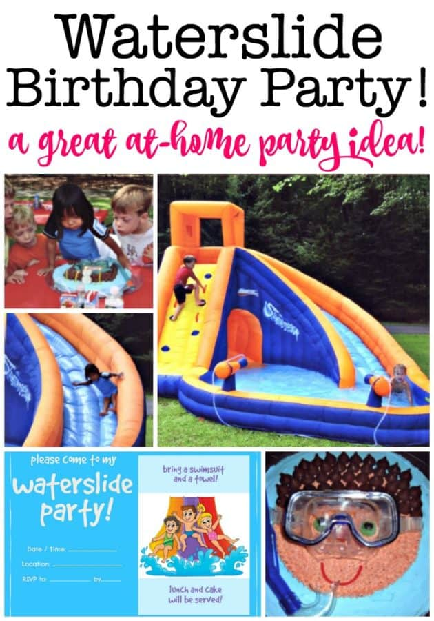 A waterslide birthday party is a great summer birthday party idea! This post includes a free printable invitation, thank you note, and favor tag and shows you exactly how we did it!