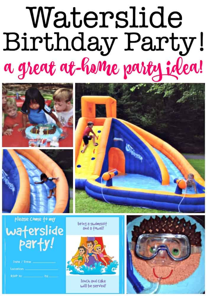 A waterslide birthday party is a great summer birthday party idea! This post includes a free printable invitation, thank you note, and favor tag and shows you exactly how we did it! #WaterslideBirthdayParty #KidsBirthdayParties #SummerParty #BirthdayCake #Waterslide