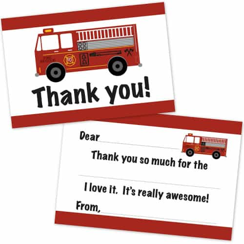fire truck party thank you notes