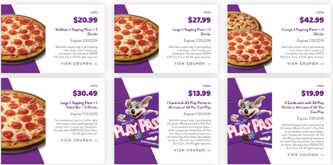 look for coupons for Chuck E Cheese