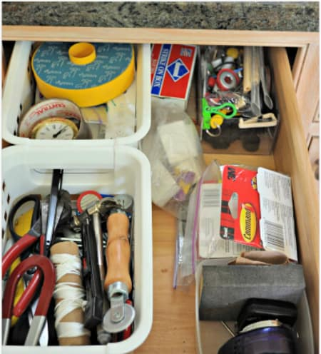 "Junk drawers- we all have them. They serve as a ""catch-all"" space of items we use often, and also items we don't seem to use at all! So how can you organize a junk drawer to make it tidy and more useful if you'd like to get organized? I'll show you how in this post!"