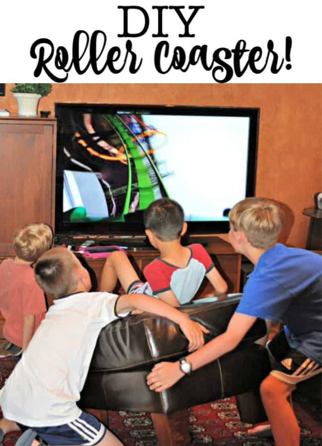 I wish that I could tell you that I thought of this idea myself, but my kids came up with this idea for a DIY roller coaster ride! This would be such a fun rainy day activity!
