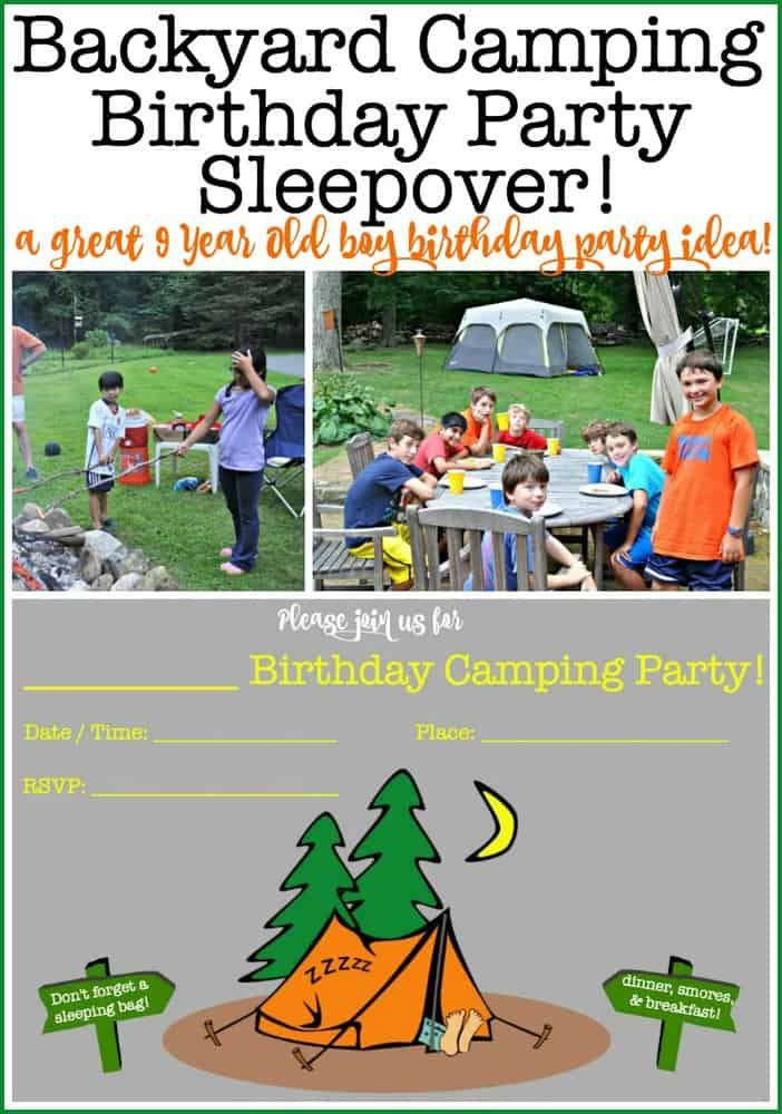 A backyard camping birthday party sleepover- an evening filled with playing party games outside, and dinner cooked at a campfire topped off with smores! What a perfect birthday party for a 9-year-old boy! #CampingBirthdayParty #KidsBirthdayParties #Sleepover #PartyGames