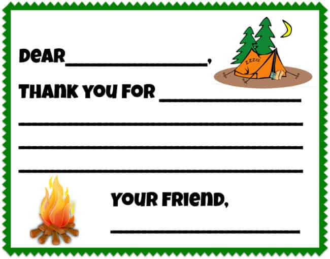 Camping Birthday Party Thank You Note (free printable!)