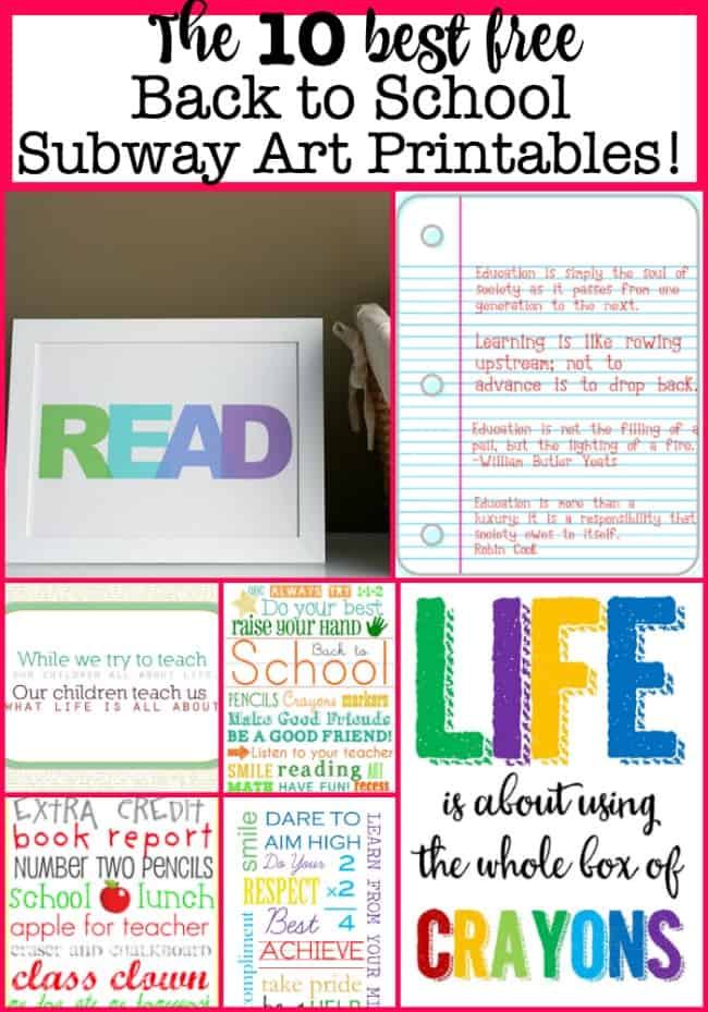 I love the idea of inspiring my kids to read, to study, to work hard, and to expand their minds as they head back to school- and these free back to school subway art printables will set the tone perfectly!