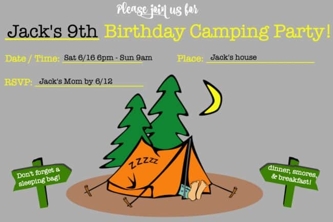 Camping Birthday Party Invitations (free printable!)