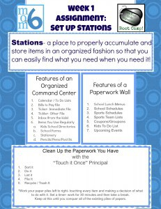 Get Your Life Organized Boot Camp {Week 1 }- Set Up Some Stations!