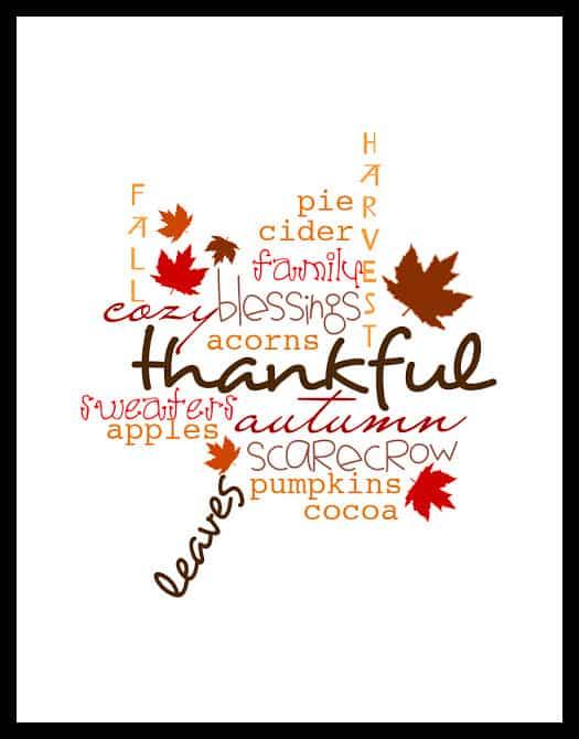 Thankful leaf print