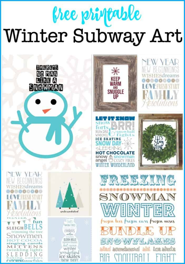 I love to change out the decor in my home, and these free winter subway art printables are a beautiful way to do just that! You'll find links to all of the free printables right in this post! #WinterSubwayArt