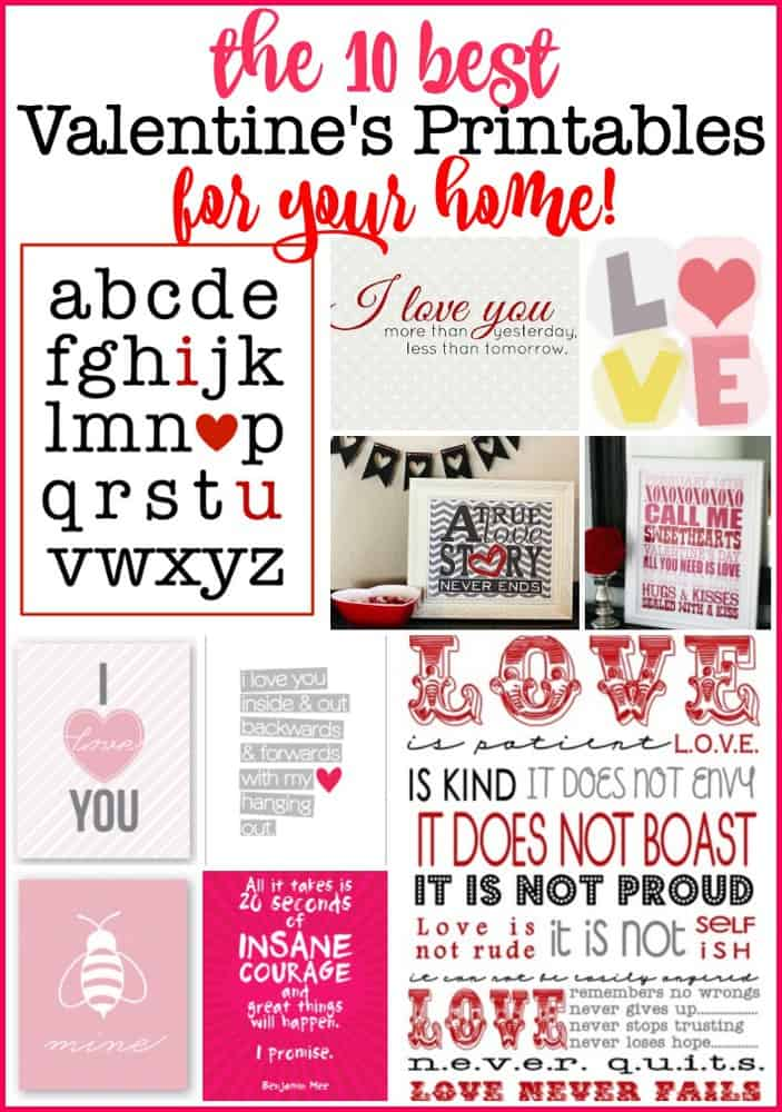 I love to decorate my home with symbols of the season- and these free Valentine's printables look so great framed and hung on a wall or displayed on a mantle! Here are the 10 best free Valentine's printables for your home!
