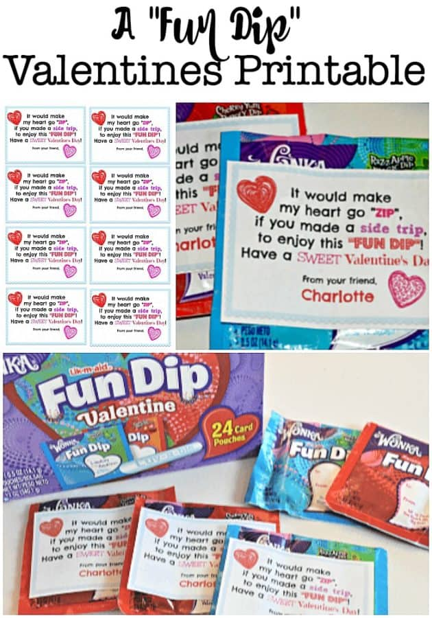 "I came up with a fun Valentines printable that goes along nicely with my kids' Valentine's treat of choice: ""Fun Dip"". You know, the electric-colored sour sugar that you eat with a stick that is also made entirely of sugar?"