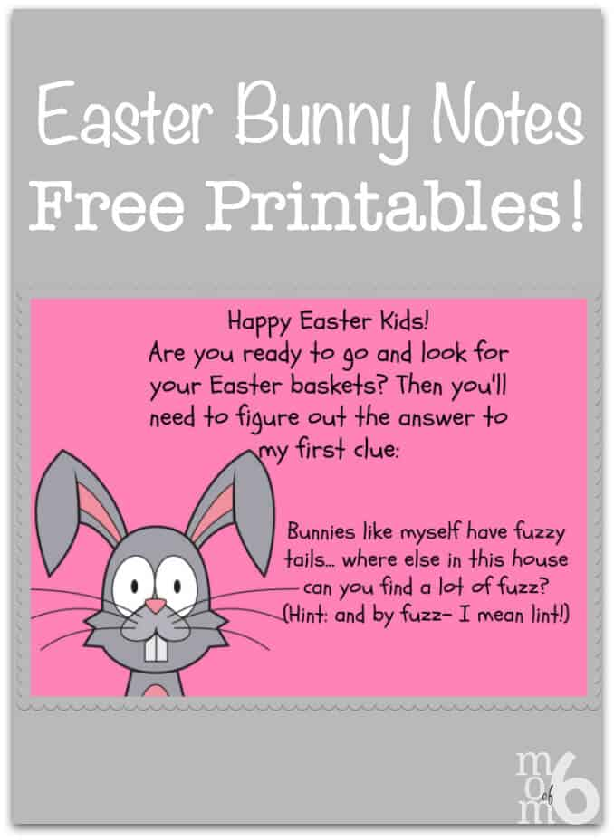 Easter bunny note free printable momof6 one of our easter traditions is that the easter bunny hides the kids easter baskets negle Choice Image