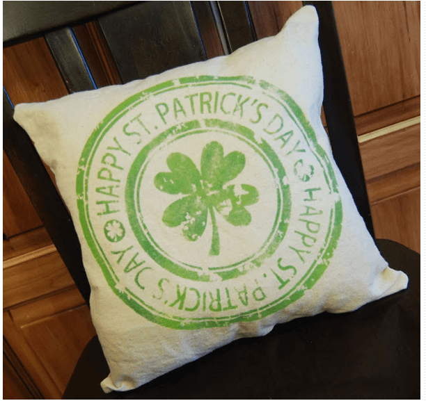 St Patricks Day stamped pillow