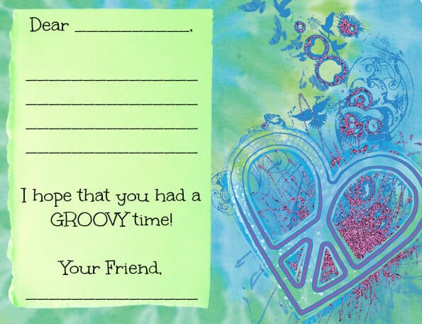 tie dye party thank you note
