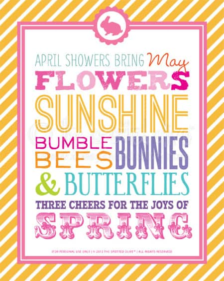 april showers free printable