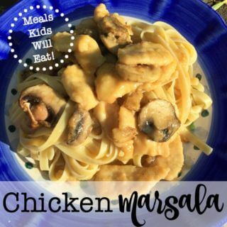 Chicken Marsala is one of my family's favorite dishes- and my kids request it almost every week! Serve it over a bed of linguine or fettuccine with a large leafy green salad along side- and you have a perfect weeknight family meal! I love serving chicken marsala as bite-sized pieces vs. whole chicken breasts so I don't have to help the kids cut it up once it is served. Plus the smaller pieces do a better job of hugging the delicious sauce!