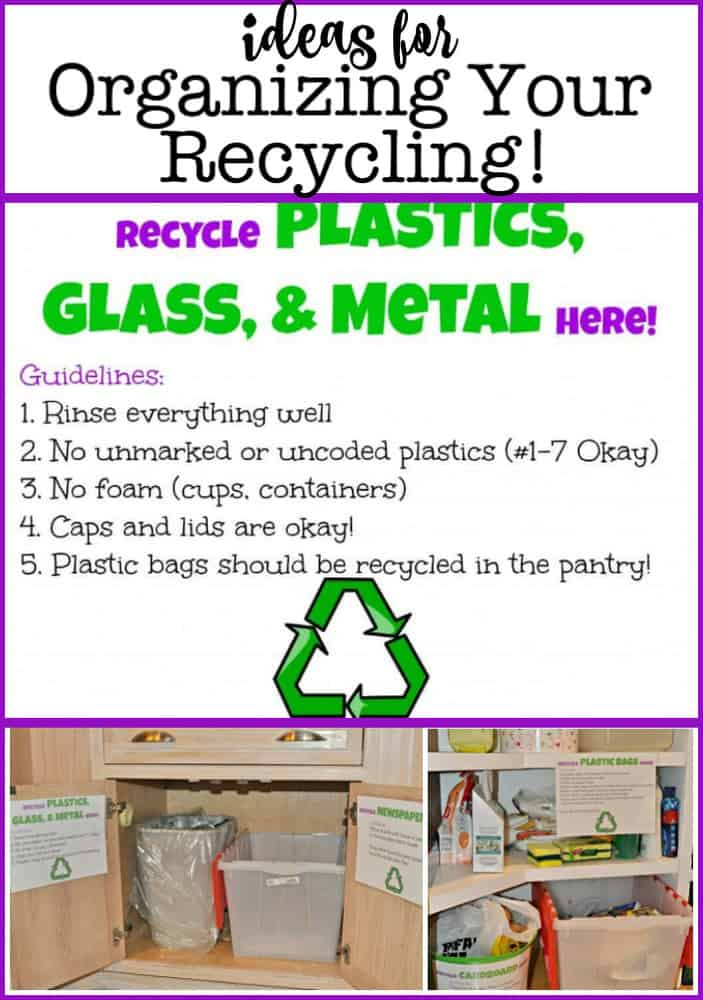 The key to recycling is to make sure that you have a place for everything you intend to recycle and that you have instructions posted so that everyone in your household knows exactly what can be recycled and how to prepare the item for recycling. Here are some ideas for how to organize your recycling: