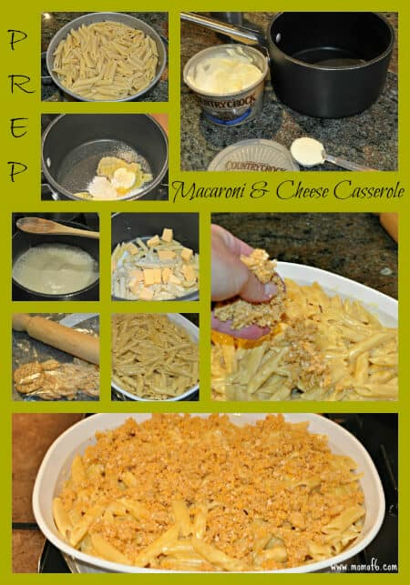 This macaroni and cheese casserole recipe (which is a family favorite!) includes a white sauce base, a little bit of heavy cream and a nice sprinkling of a Ritz cracker-cheddar cheese crumble on top.