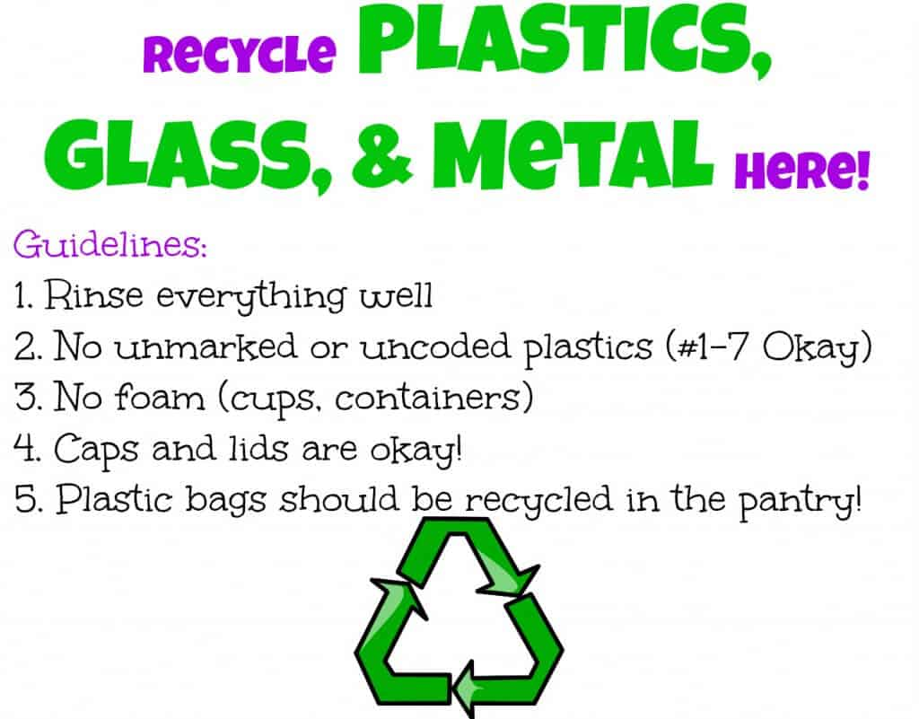 Recycling Sign for Glass, Plastics, and Metal