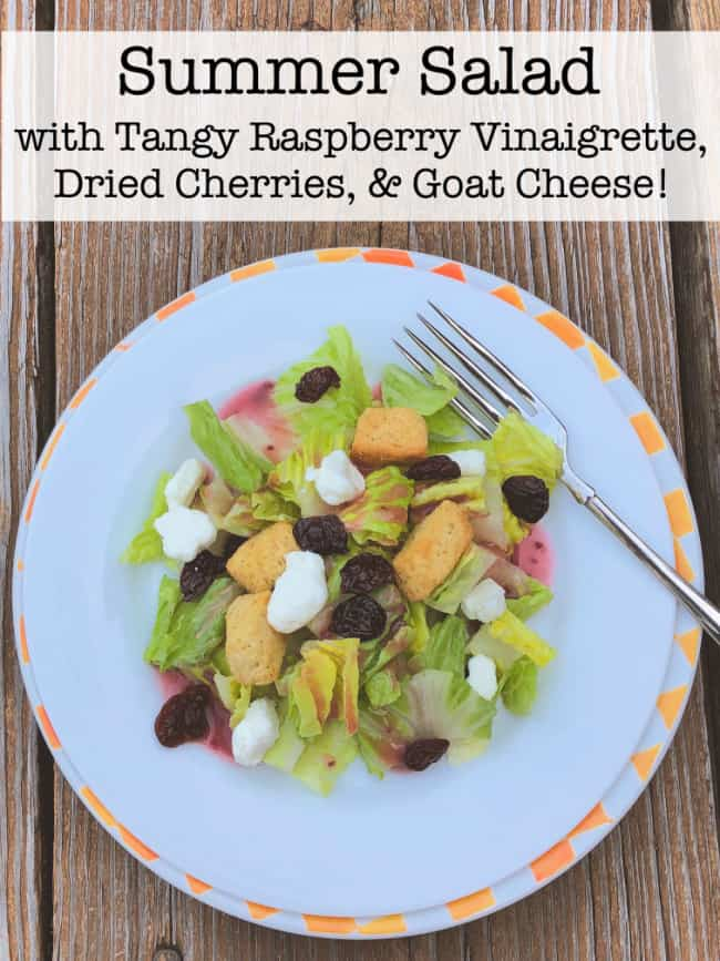 This summer salad is made with a tangy homemade raspberry vinaigrette that takes just a few minutes to whip up in the blender! Add in the dried cherries and goat cheese- and it's so delish!
