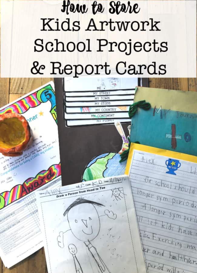 We all face the same questions at the end of every school year- how to store kids artwork, projects and report cards? Which pieces should I keep and which should I discard? Here's how I do it!