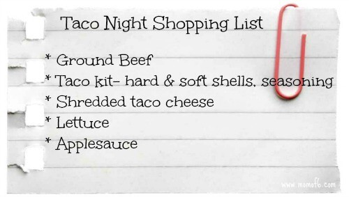 Taco Night Shopping List