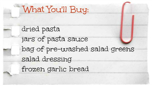 What You'll Buy- Easy Pasta Night
