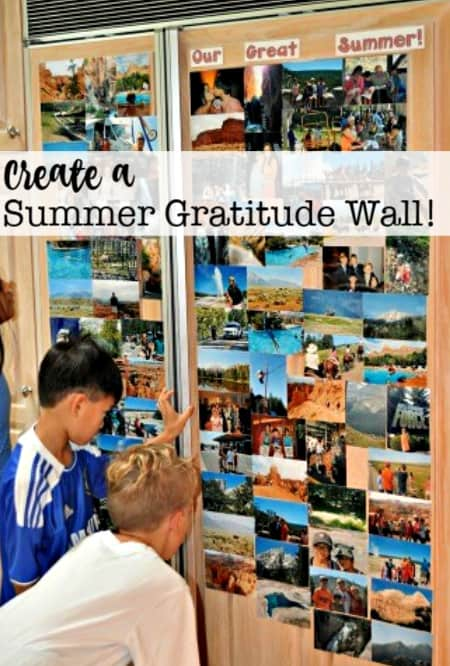 Every year I like to celebrate the fun we had during the summer by creating a gratitude wall on our refrigerator door that showcases a collection of pictures that capture some of our favorite summer activities.