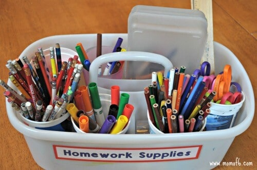 homework supplies checklist for back to school