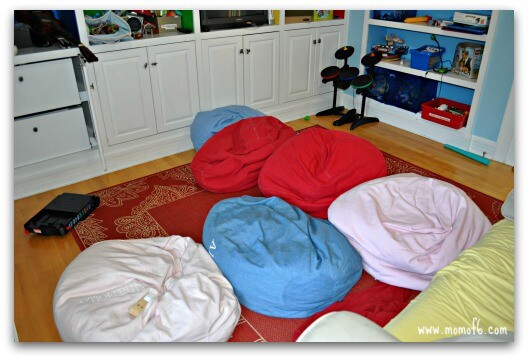 Kids Space Makeover- bean bag chairs