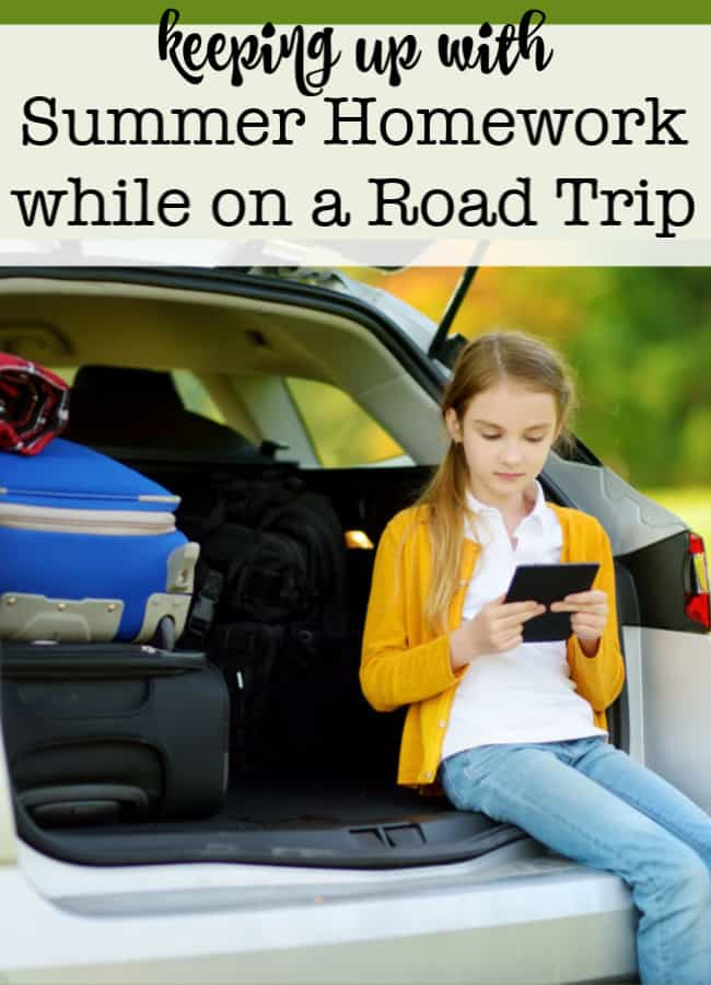 "Traveling the country and experiencing new places is an education itself, but I still want my kids to read, write, and keep up with math practice, so as to avoid the ""summer slide"". Here are some ideas to keep up summer homework while on a road trip!"