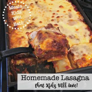 This homemade lasagna recipe includes an amazing homemade meat sauce that slow cooks for hours before you bake it in the lasagna. It alone is worth making this recipe! And your kids will devour it!