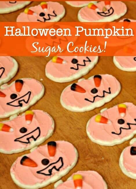 These adorable Pumpkin Sugar Cookies are made from the most delicious sugar cookie recipe ever! And your kids will love helping you decorate them! #HalloweenCookies #PumpkinSugarCookies #SugarCookies #HolidayCookies
