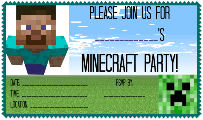 printable Minecraft party invite