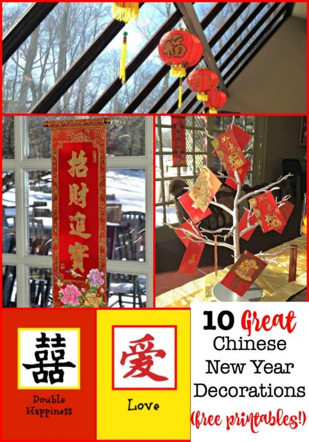 My kids look forward to the food and red envelopes that will be placed on the table for Chinese New Year! But what's a holiday without decorations? Here are 10 Great Chinese New Year Decorations (with free printables!) #ChineseNewYear #ChineseNewYearDecorations #Lanterns #Couplets #FreePrintables #MomOf6