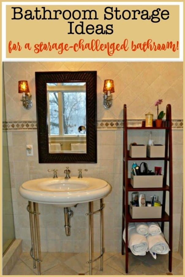 Our master bathroom came with a beautiful pedestal sink and no cabinetry at all- making storage quite a challenge! Here are some bathroom storage ideas we used to make this space work for us!
