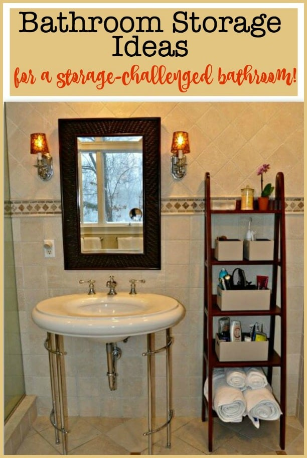 We used these bathroom storage ideas in our master bathroom- which came with a beautiful pedestal sink and no cabinetry at all! This made it tough to have an organized bathroom! #BathroomStorage #GetOrganized #OrganizedBathroom #Storage