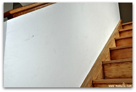 Magic Eraser- close up staircase before