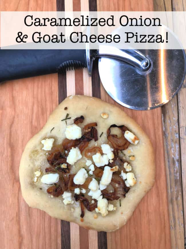 I was inspired recently to take my favorite quick-and-easy pizza crust recipe and create this caramelized onion and goat cheese pizza! Truly- these little pizzas my new dinner obsession!