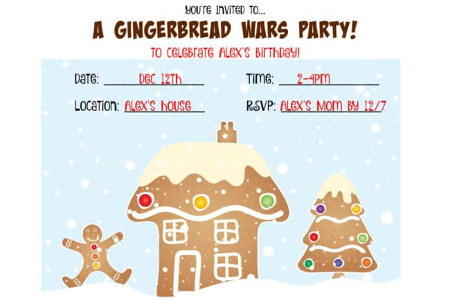 "Here's how we hosted a Gingerbread Wars Birthday Party for our son Alex and his friends! In this post, you'll find lots of kids birthday party ideas you can use, as well as free printable invitations, favor tags, thank you notes and a ""show script""!"