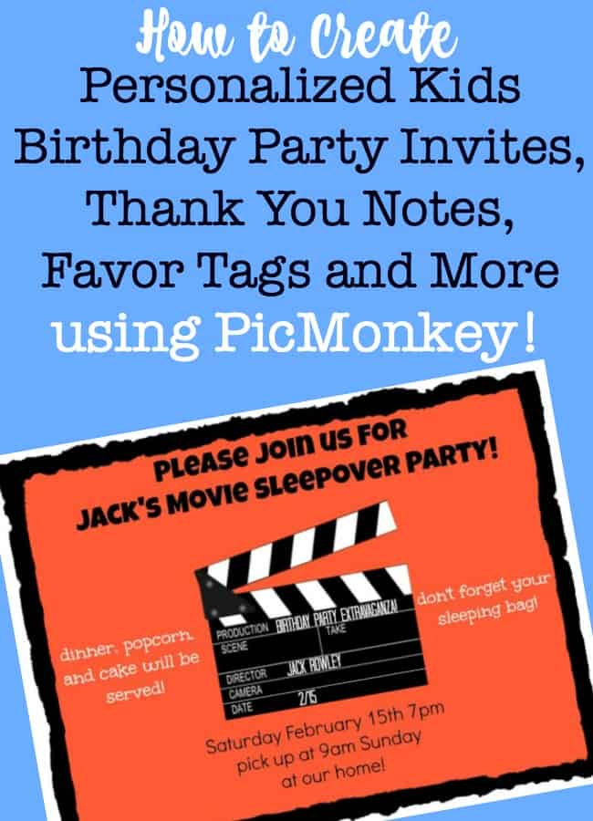 Creating personalized kids birthday party invitations and party stationery is easy with PicMonkey, and is just one more way to make your at-home birthday parties special without spending a thing! 