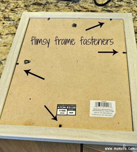 Picture Frame Repair1- flimsy fasteners